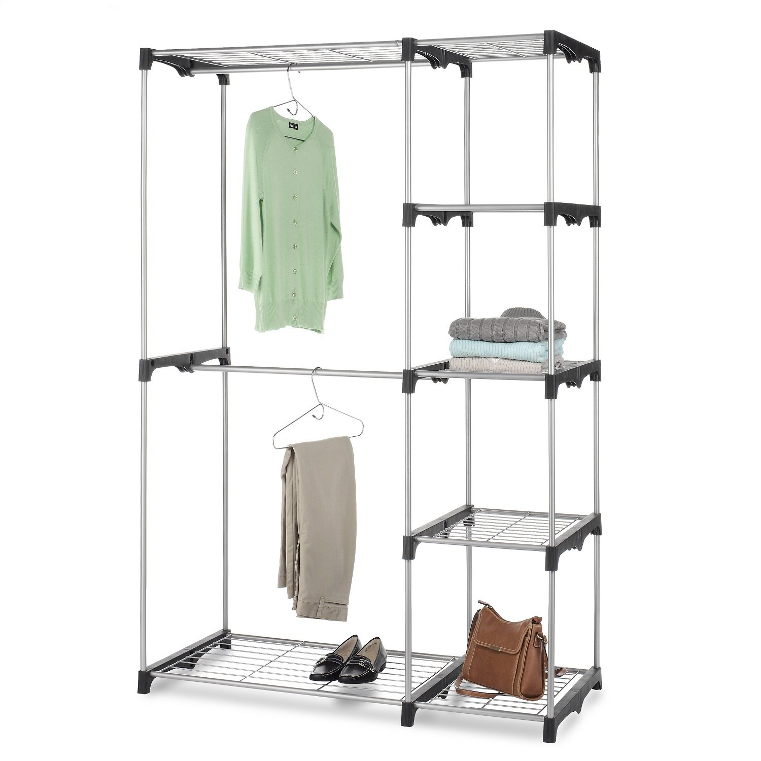 Whitmor Double Rod Freestanding Closet Heavy Duty Storage Organizer by Whitmor