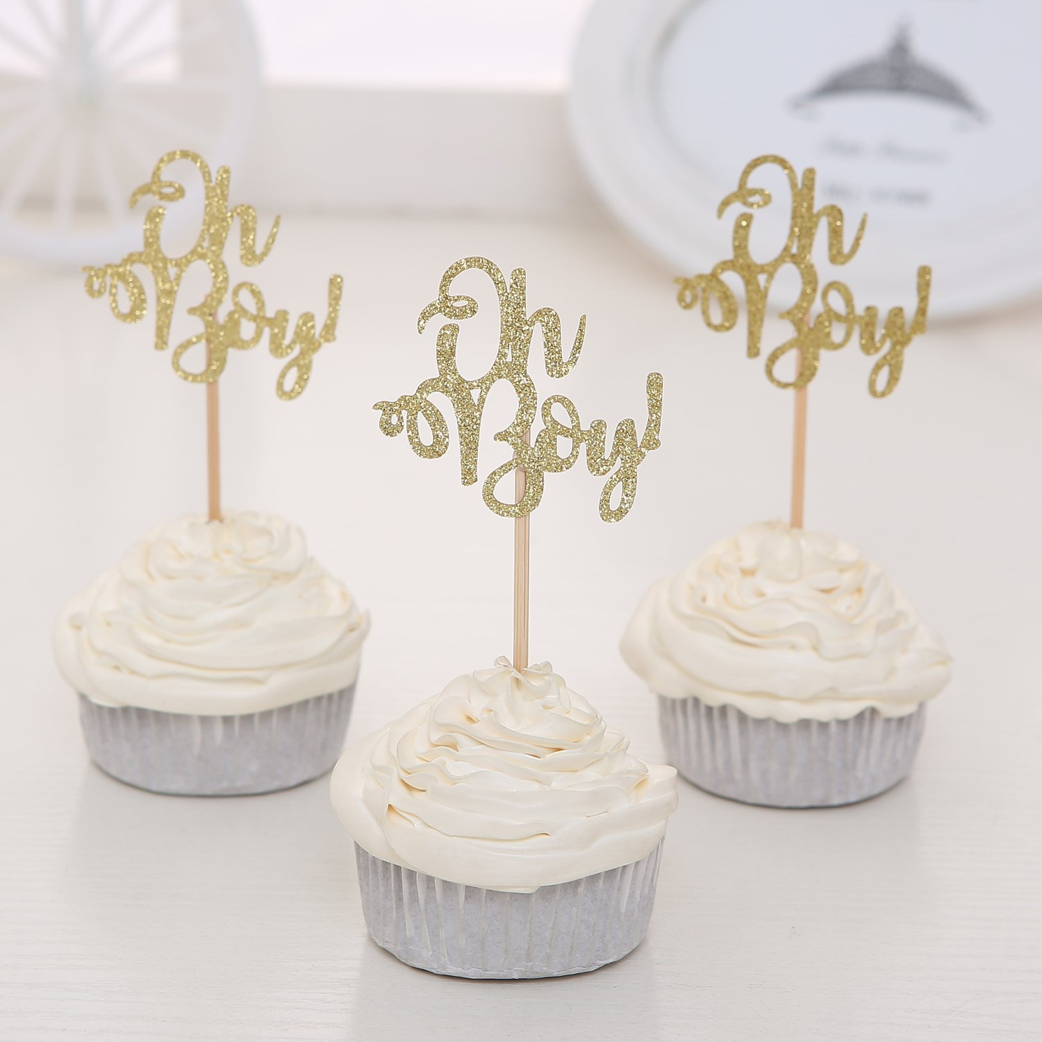 Giuffi Set of 24 Golden Oh Boy Cupcake Toppers Party Decors Baby Shower Decors - by