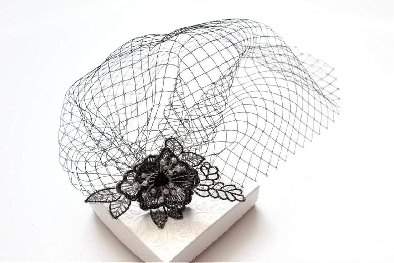 Tocado negro, velo con flor, velo de jaula de pájaros negra ...