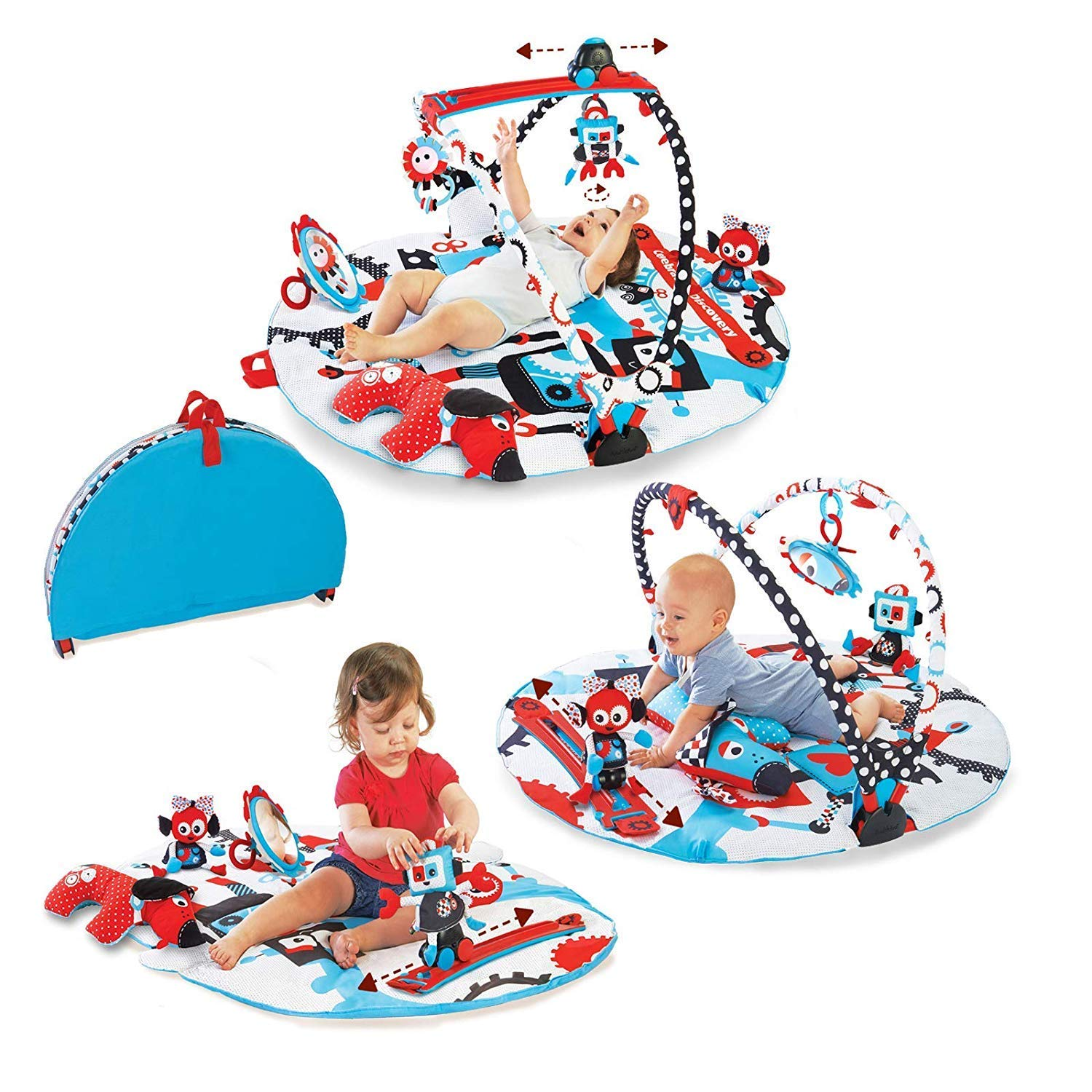 Yookidoo Baby Gym and Play Mat - 3 Stage Accessory Gym with Motorized Robot Track - 20 Development Activities - Age 0-12 Months