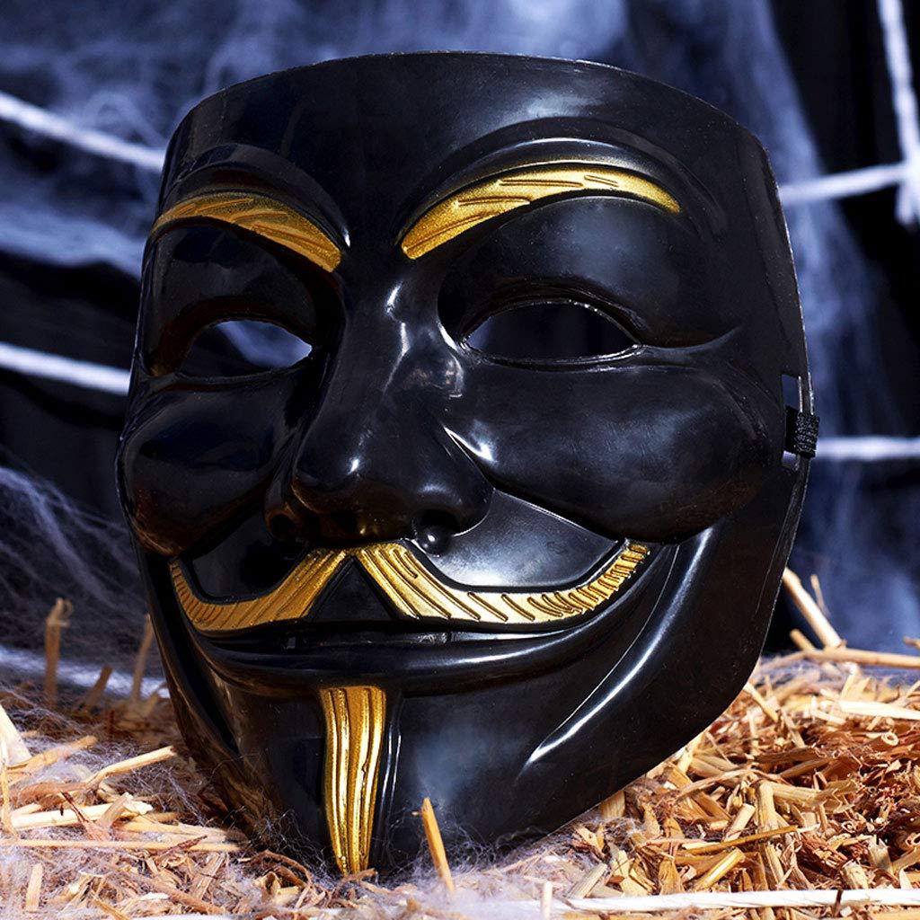 Liying Maske- Halbgesicht Vollgesichtsmaske Männliche V-Wort Vendetta Maske Maskerade Dekorative Requisiten Vendetta Maske (Farbe : SCHWARZ)