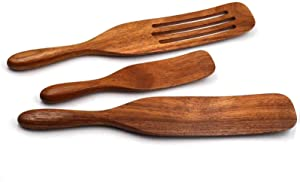 Kitchen Utensils Set,Wooden Spurtles Set,Glgzzom 3Pcs Natural Acacia Kitchen Utensil Set,100% Healthy Hard And Durable Wood Kitchen Utensils For Salad Stir, Cake Make And Pan-Fried Steak