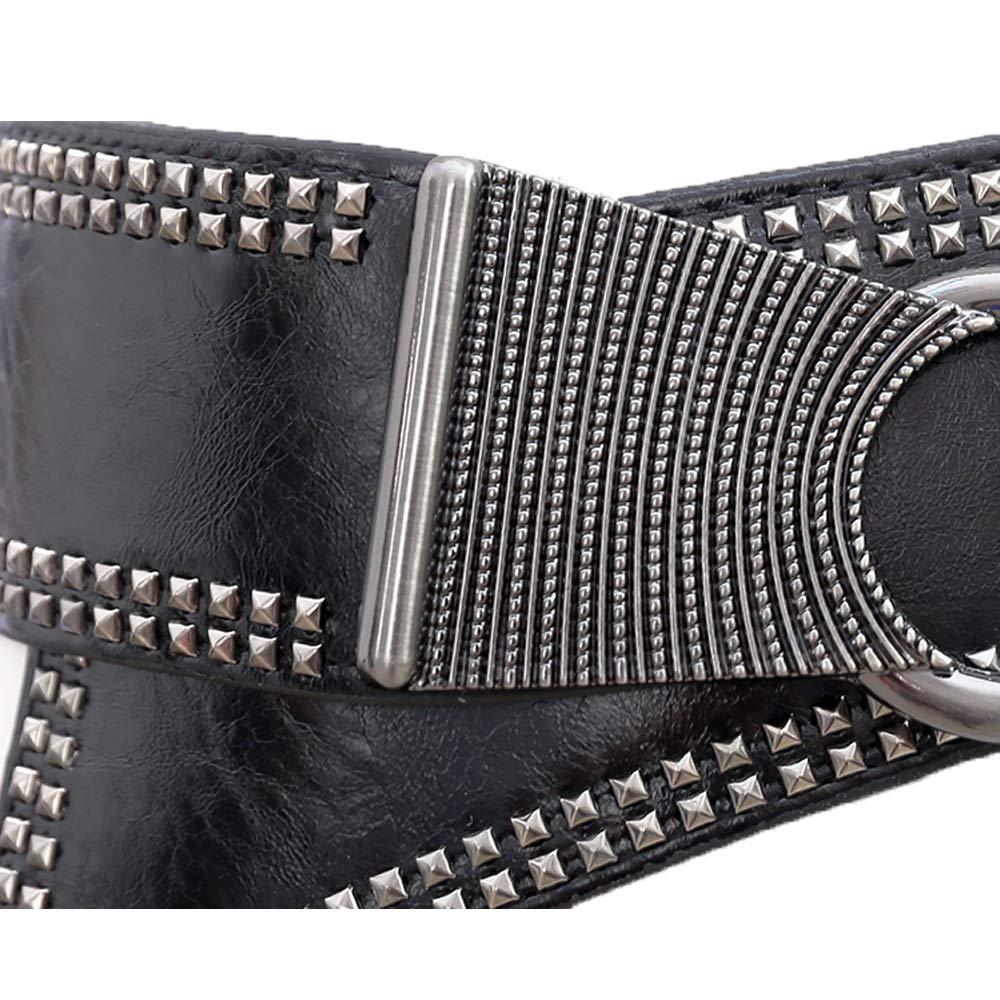 LUOSFUH Cinturón ancho de cuero de PU de la mujer Elástico Punk Rock  Cintura sólida con remaches con tachas(Gris)  Amazon.es  Ropa y accesorios e505557543db