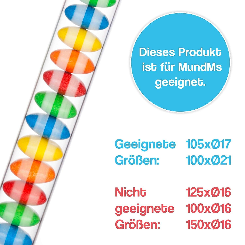 Klarglas Inklusive Bunter Stopfen Je 20x Blau, Gelb, Gr/ün, Wei/ß, Rot Plastica Tuuters 55 x /ø 12mm Tubi trasparenti ✓ Tappi in 5 colori ✓ 100x provette in plastica con chiusure colorate