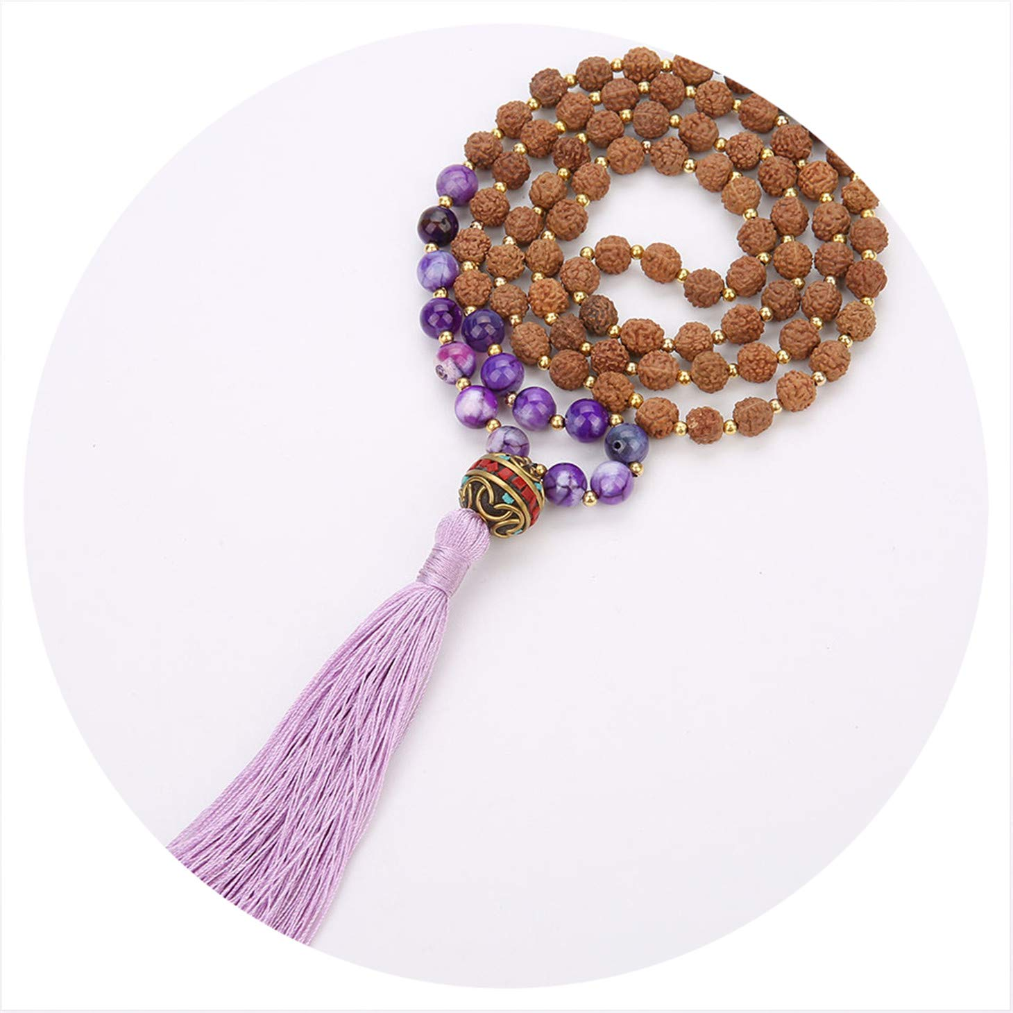 Olive Tayl Ethnic Vintage Long Tassel Necklace Handmade Rudraksha Nepalese Beads Pendant Necklace Meditation P