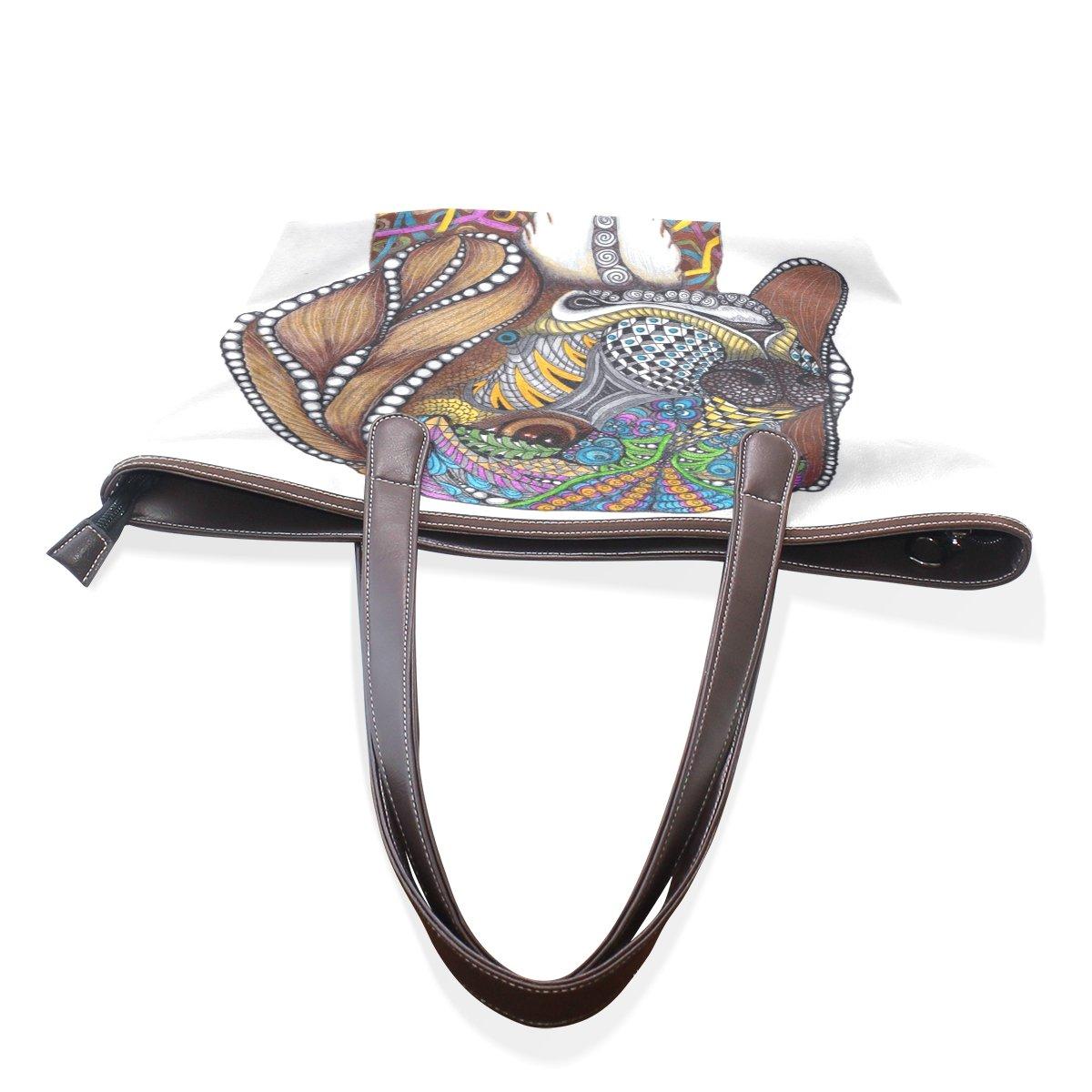 SCDS Watercolor Dog PU Leather Lady Handbag Tote Bag Zipper Shoulder Bag