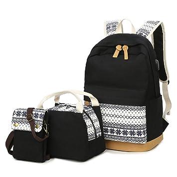 6c2a853001551 Schulrucksack Set Canvas Rucksack Kühltasche Lunchbox Tasche  Handytasche Umhängetasche 3-In-1