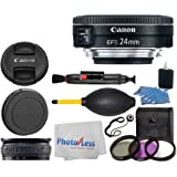 Canon EF-S 24mm f/2.8 STM Lens + 3 Piece UV Filter Kit + Lens Band + 3 Piece Cleaning Kit + Lens Cleaning Pen + Lens Cap Holder + Photo4Less Cleaning Cloth - Deluxe Lens Accessory Bundle