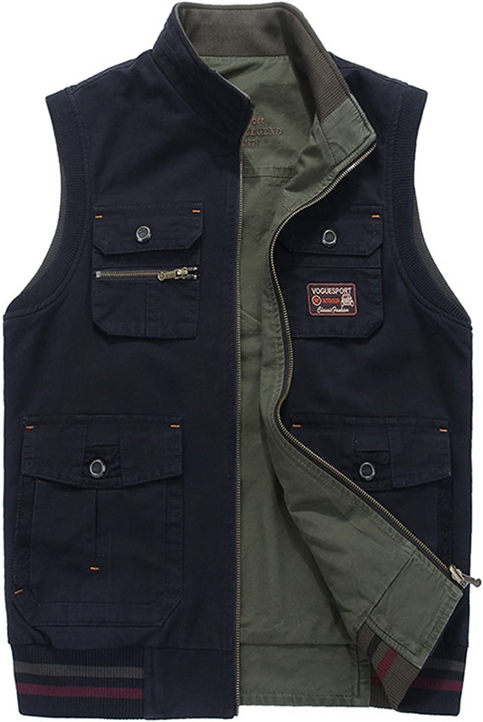 Gihuo Men's Reversible Outdoor Pockets Fishing Safari Travel Vest Jacket
