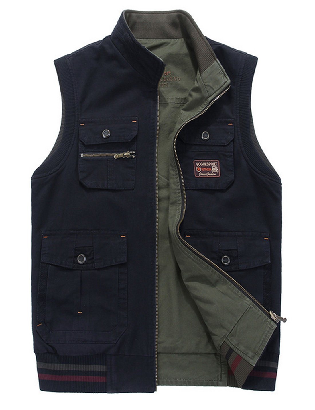 Gihuo Men's Reversible Cotton Leisure Outdoor Pockets Fish Photo Journalist Vest (XX-L, Navy)