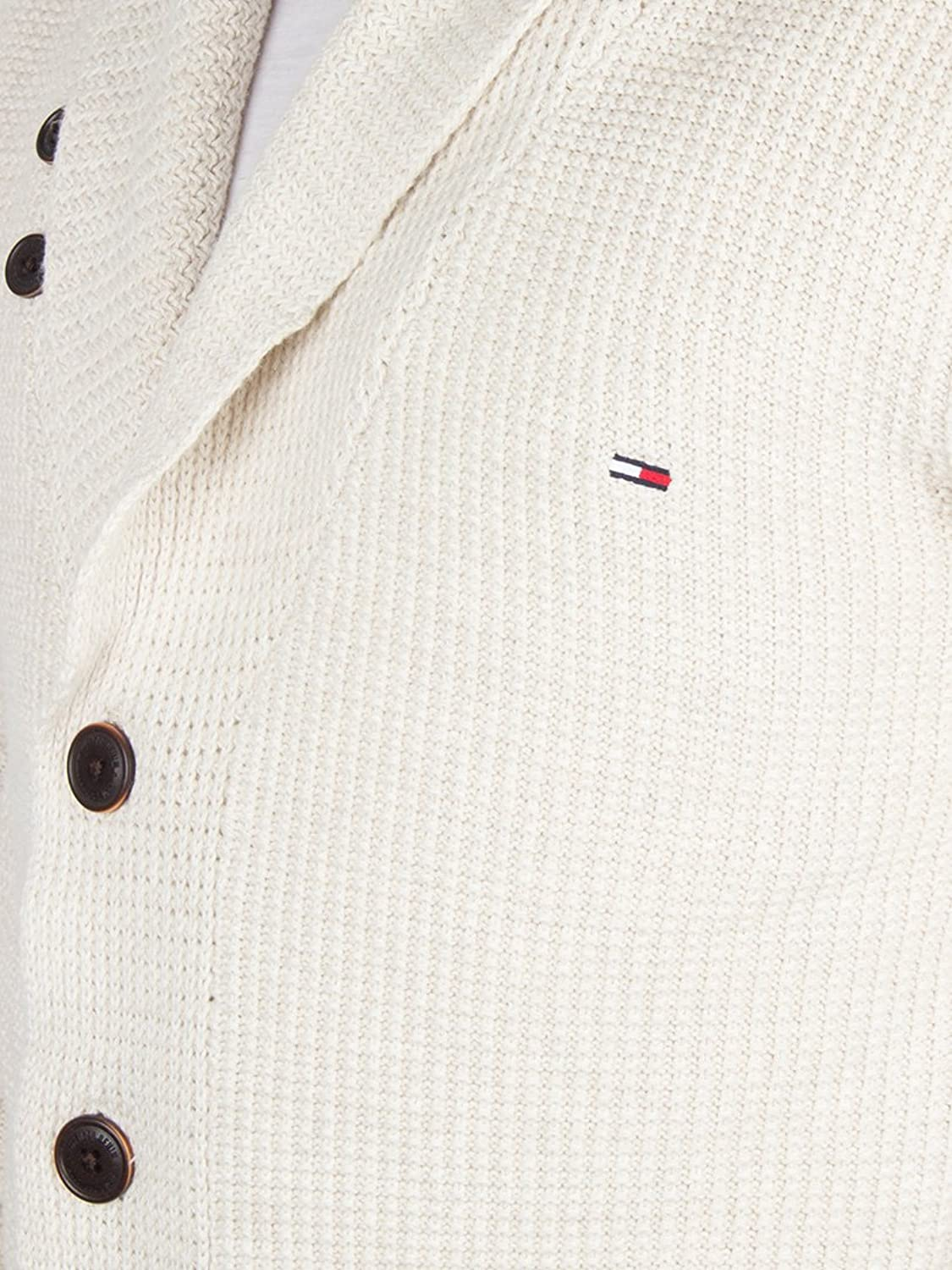 Hilfiger Denim Men's SN Shawl Neck Logo Cardigan Knit, White