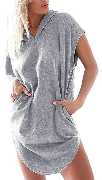 411bbd1f9a59 Vestiti Donna Estivi Eleganti Corti con Cappuccio Abito da Giorno Taglie  Forti Vestito Sciolto Colore Solido Mini Sportiva Casual Moda Giovane Abiti  Moda ...