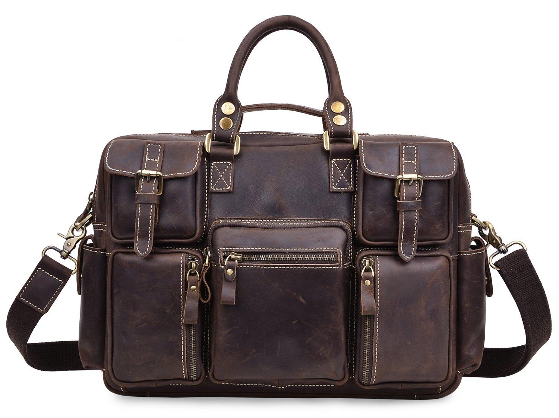ALTOSY Men Vintage Genuine Leather Briefcase Laptop Messenger Shoulder Travel Bag 8058 (dark brown)