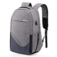 "Laptop Backpack, Anti Theft Business Casual Daypack with USB Charging Port, Water Resistant College School Bag, Laptop Rucksack for Women Men Fits 15.6"" Laptop & Notebook, Gray"