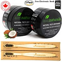 aimnaturals Best Canadian Teeth Whitening Powder 2 Pack with brush - Coconut Activated Charcoal - Effective Teeth Whitener + 2 Pack Bamboo Toothbrush + Benefits of Activated Charcoal Electronic Book Value Pack