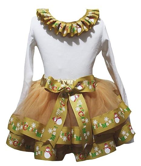 Petitebella Reindeer White Dots Red Shirt Petal Skirt Xmas Outfit Set Nb-8y