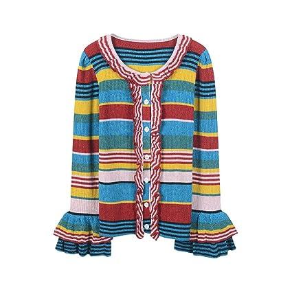 SIKESONG Pista Rainbow suéter de Rayas Saco Invierno Abrigo Volantes Knit Top Runway Outwear s