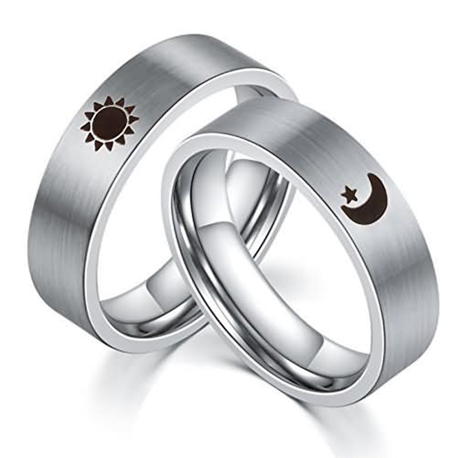 Daesar 1PCS Couple Ring Engraving Stainless Steel Ring Engraving Moon Star Rings Commitment Couple Silver Ring Size 9