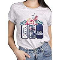 Women Vintage T Shirts Beer and Flower Graphic Summer Short Sleeve Tee Tops for...