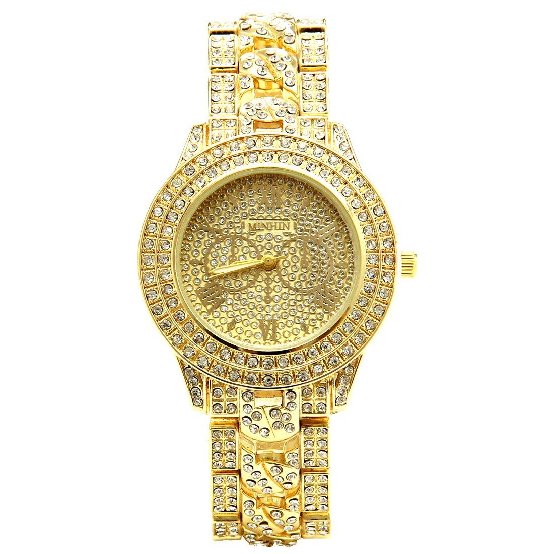 MINHIN Studded with Diamonds Alloy Geneva Geneva Watch Unisex Luxury Shiny Watches (Gold)