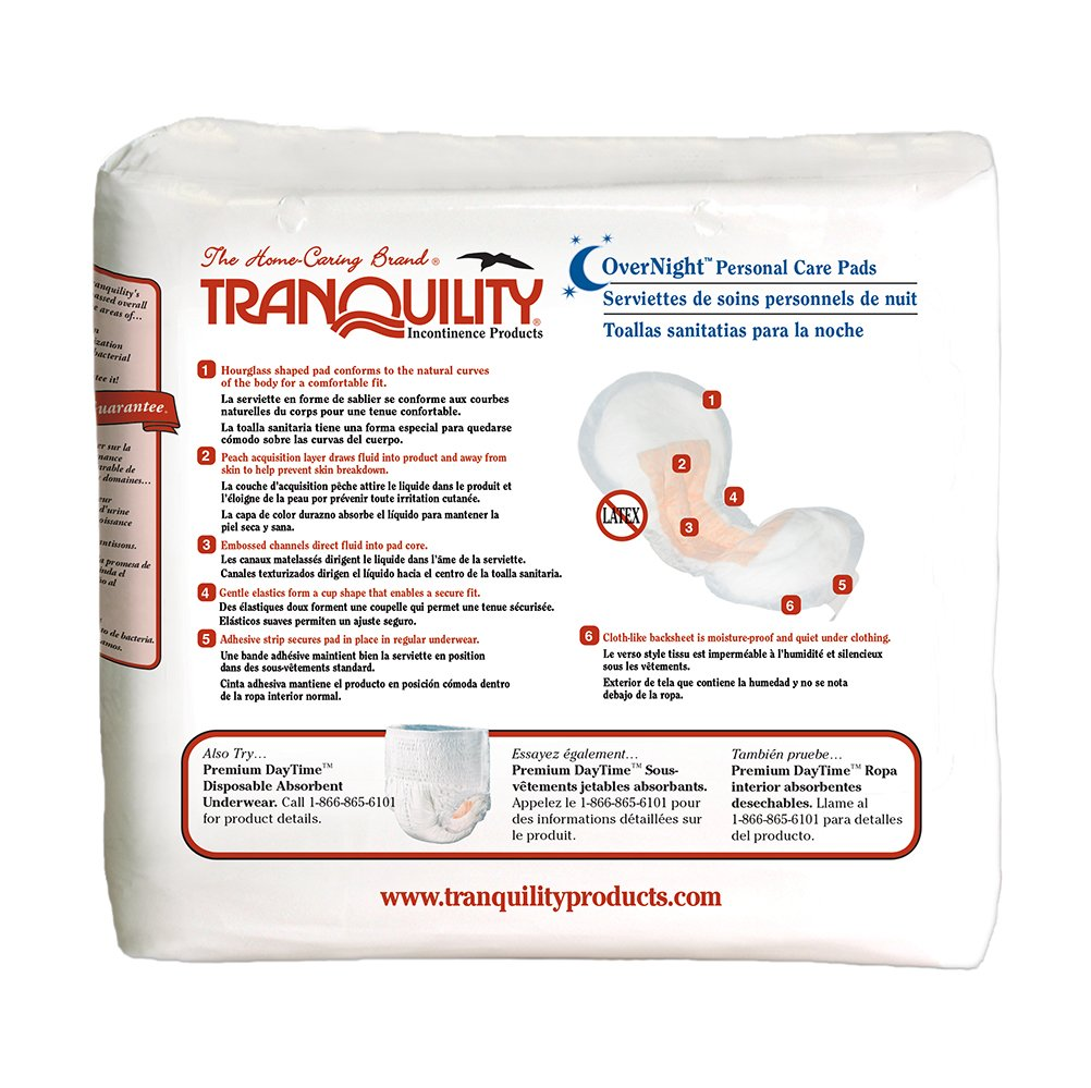 Amazon.com: Tranquility Incontinence Personal Care Pads for Men or Women - OverNight - 96 ct: Health & Personal Care