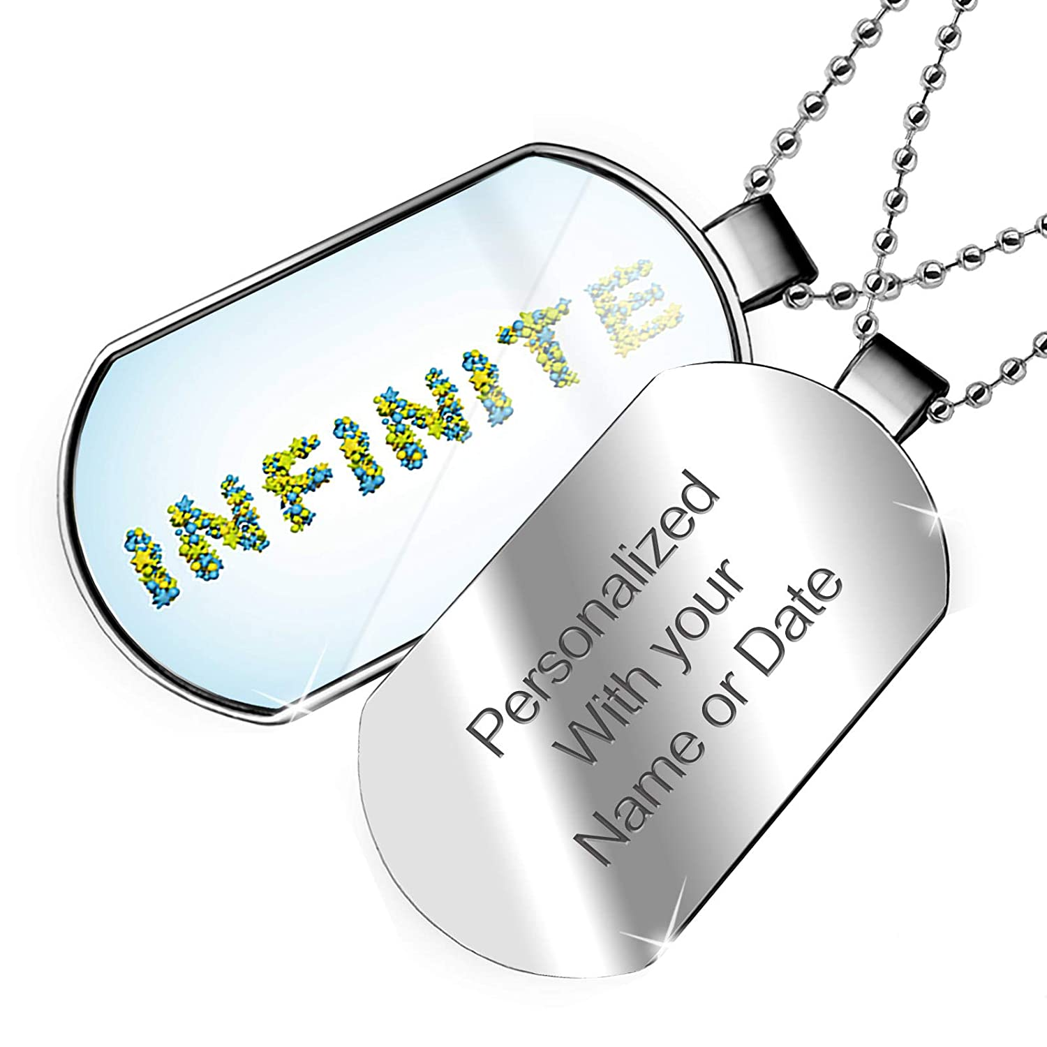 NEONBLOND Personalized Name Engraved Infinite Stars Green Blue Rendering Dogtag Necklace