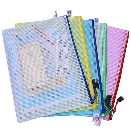 5pcs Waterproof Transparent Pvc Zipper Bag File Folder Document Filing Bag Stationery Bag Store School Office Supplies Office & School Supplies