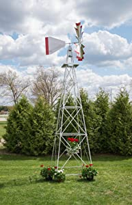 18 Ft Made in the USA Premium Aluminum Decorative Garden Windmill-green Trim