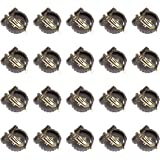 QMseller 20 Pcs CR1220 CR1225 Horizontal Coin Button Battery Holder Brown Container Case