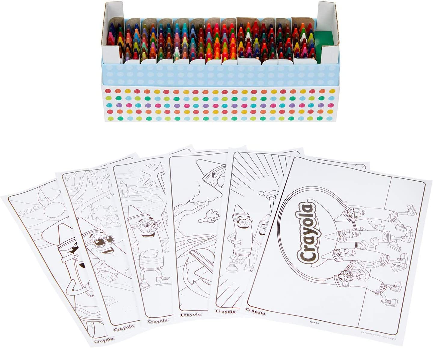 Crayola 208ct Crayon Set with Coloring Pages, Gift for Kids