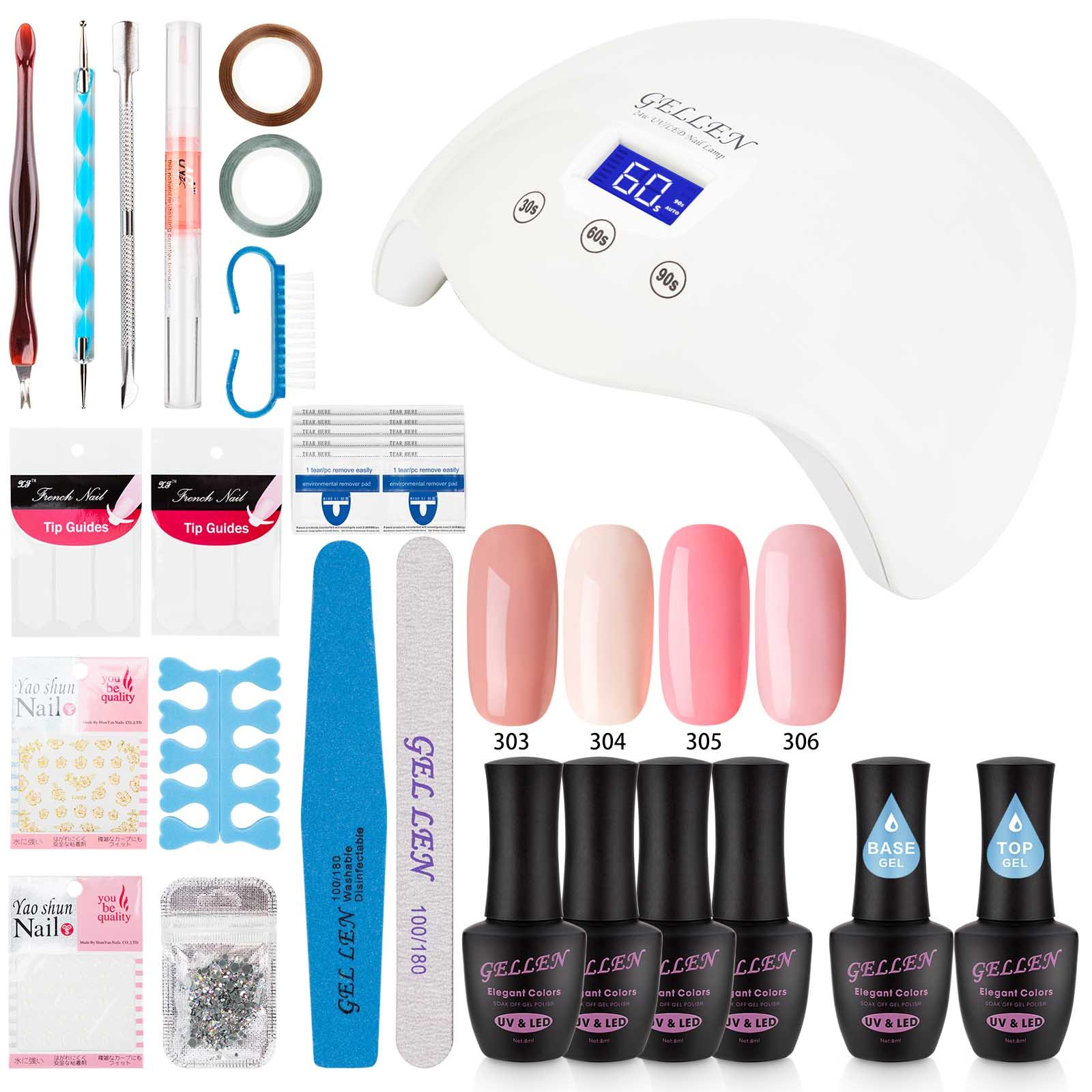 Gelish Complete Starter Kit Gel Led Lamp Tools Gellen Nail Polish Manicure Salon Ebay