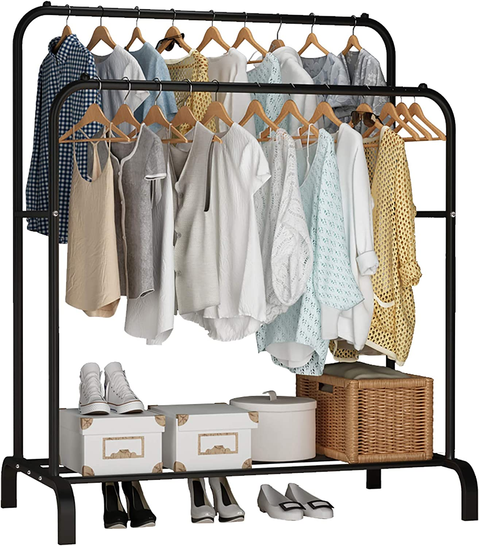 UDEAR Closet Storage Freestanding Closet Double Rod Clothes Organiser
