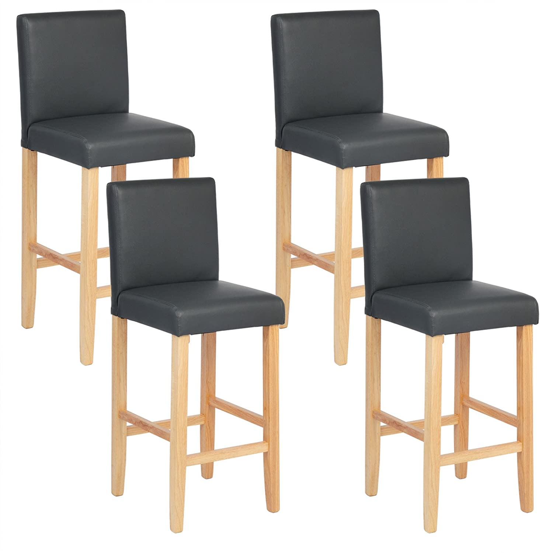 WOLTU® BH67gr-4 Barhocker Bistrostuhl Bistrohocker mit Lehne, 4er 4er 4er Set, helle Beine aus Massivholz, Antirutschgummi, dick gepolsterte Sitzfläche aus Kunstleder, Grau ccf98a
