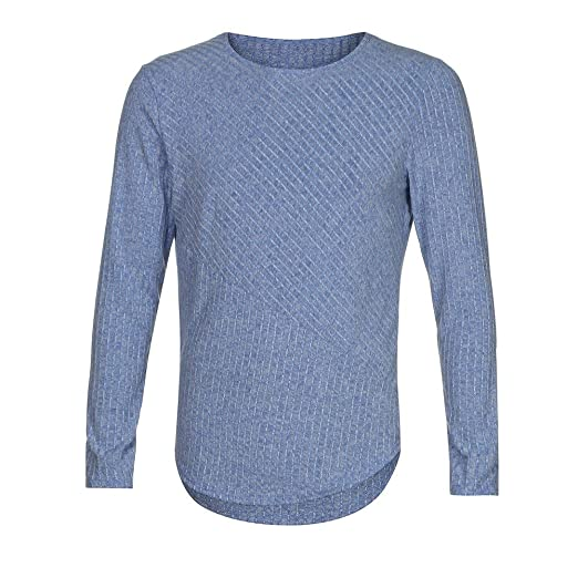 f2ca605eb128 Boomboom Fashion Men s Slim Fit Collarless Long Sleeve Tee T-Shirt Casual  Tops Blue S