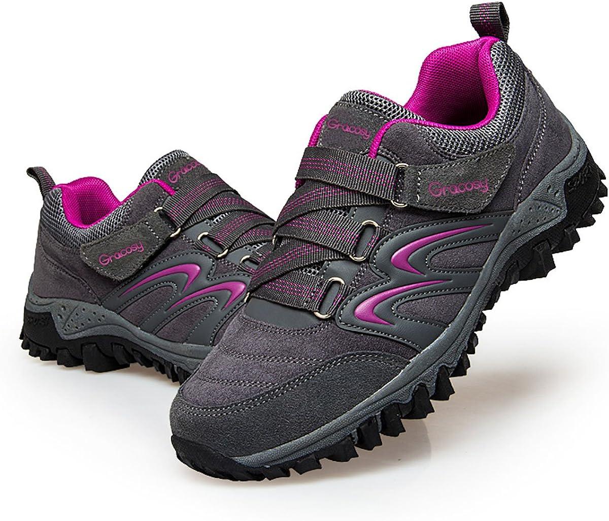 gracosy Chaussures/de/Randonn/ée/Hommes Chaussures/Basses de//Marche/Sports Imperm/éable en Suede Baskets/Sneakers/pour Gar/çons Trekking//Running/Training Gris/Noir