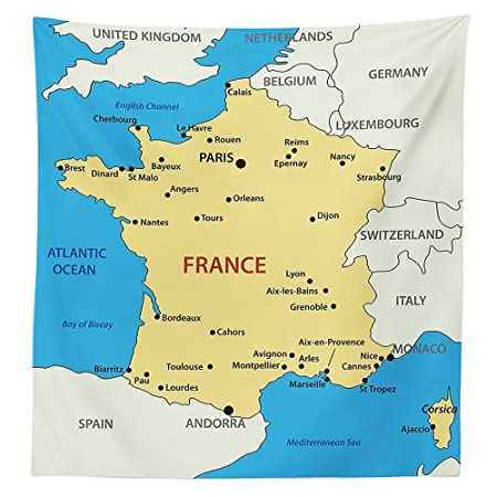 Map Of France In French.Vipsung Wanderlust Decor Tablecloth Map Of France Country French