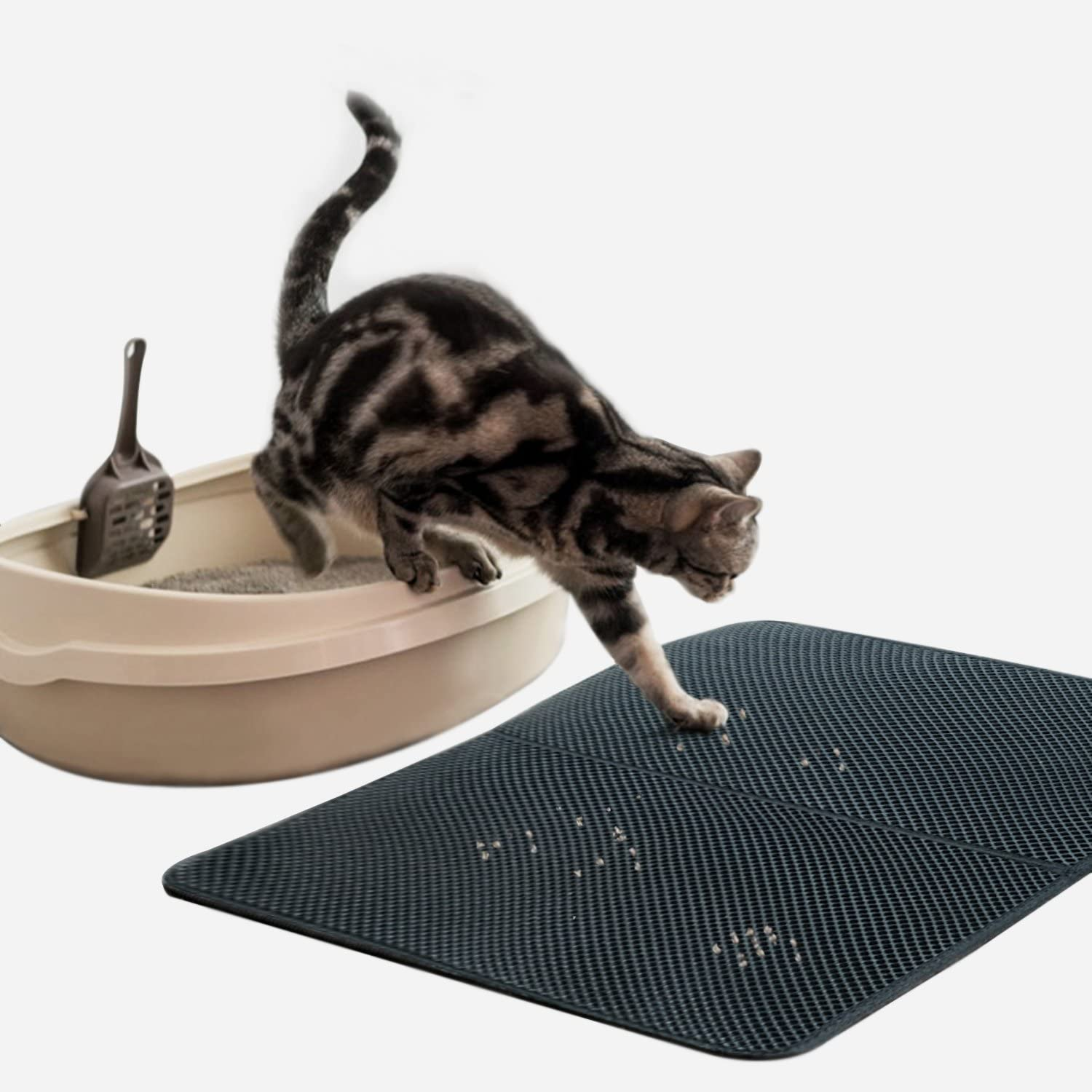 Amazon.com: Cat Litter Mat, Kitty Litter Box Trapping Pad, 28'' X 22'', Double  Layer Design with Waterproof Urine Proof Material, Easy Clean EVA Floor  Carpet: Pet Supplies