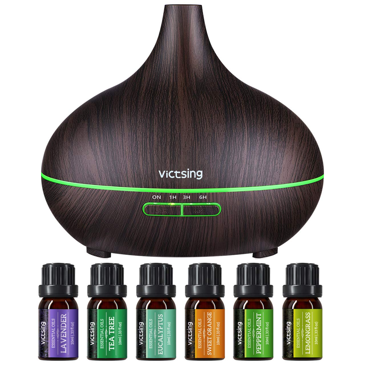 VicTsing 500ml Essential Oil Diffuser with Oils, Aromatherapy Diffuser with Essential Oil Set, Diffusers for Essential Oils with Auto Shut-Off, 4 Timer, 14 Color Lights, Gift Set for Home