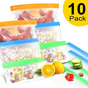 Reusable Storage Bags, longzon 【10 Pack】Reusable Sandwich Bags, Reusable Food Ziplock Bags, Small Freezer Large Storage Snack Lunch Plastic Bags, BPA Free, FDA Foodgrade, Betterthan Silicone Bags