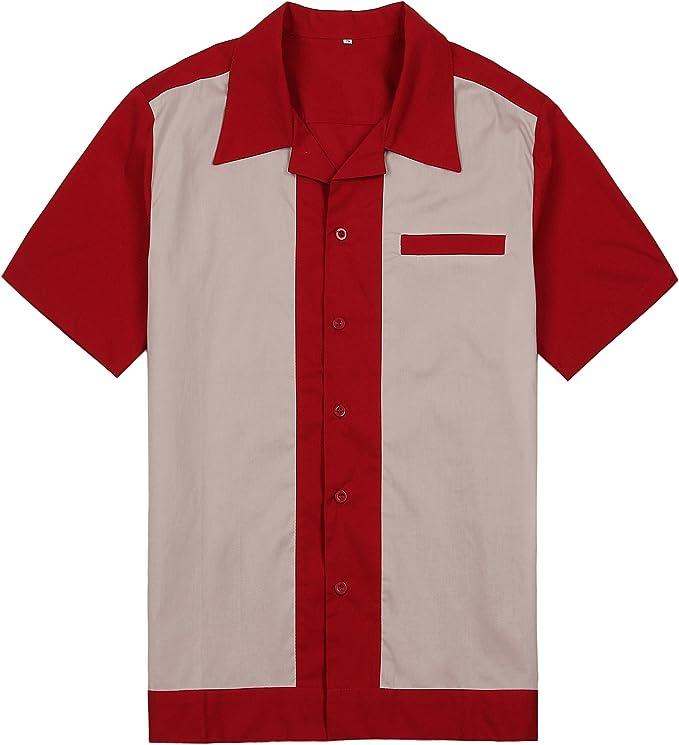 Hombres Rojo Crema Rockabilly Retro Americano Acampar Camisas Hip Hop Vaquero: Amazon.es: Ropa y accesorios