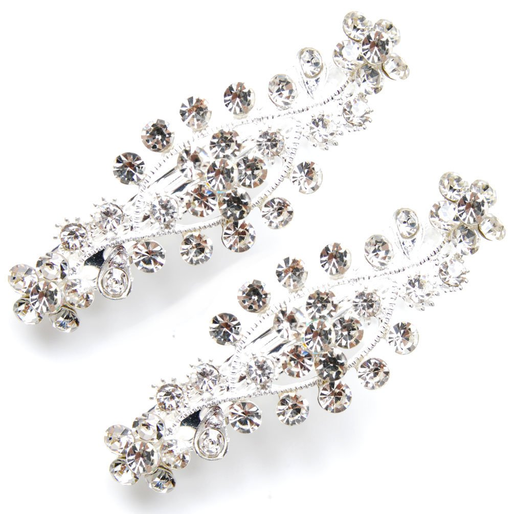 Luxxii - Clear Rhinestone Crystal Hair Barrette Clip Hair Pin (Pack 2, Silver Color)