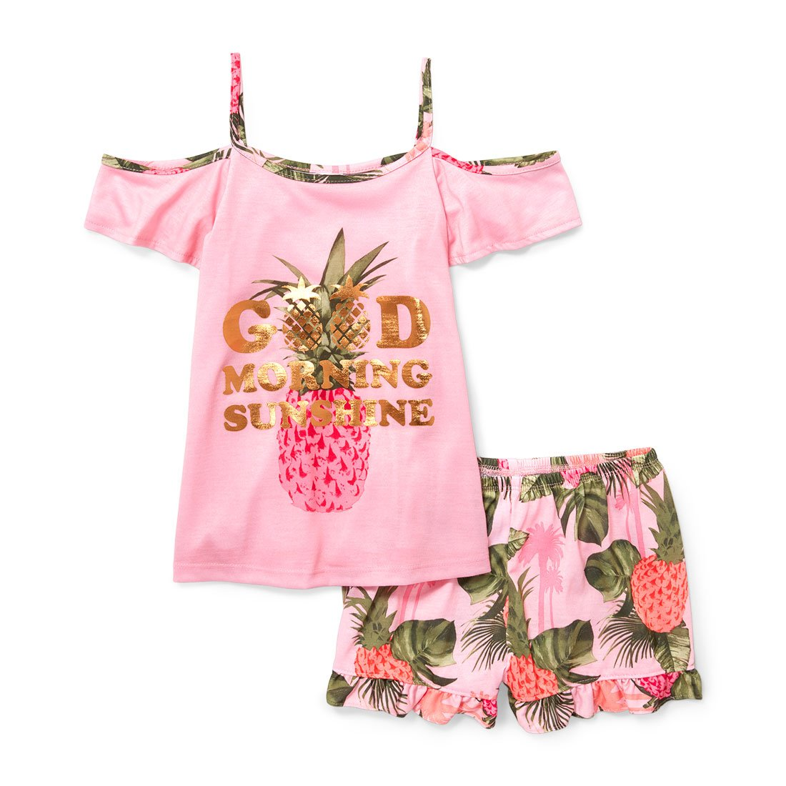 The Children's Place Girls Big Girls Top Shorts Pajama Set The Children's Place