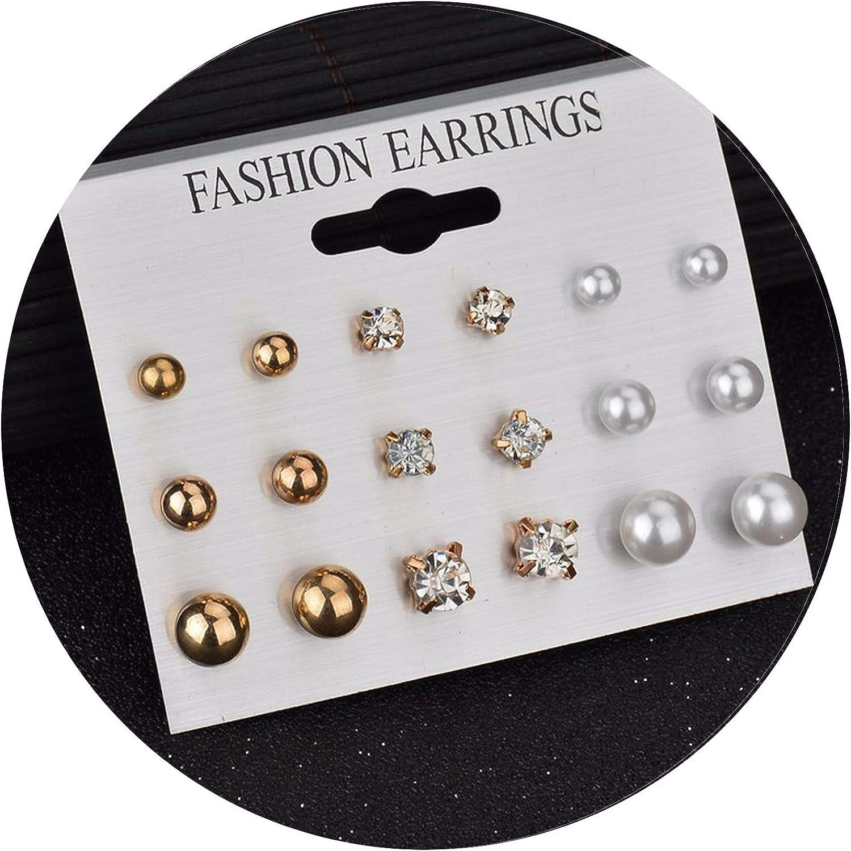 Fashion Women Square Crystal Heart Stud Earrings for Women Piercing Simulated Flower Pearl Earrings Jewelry