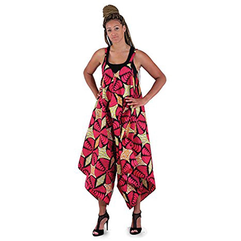 African Print Jumpsuit: Pink/Yel/Orange