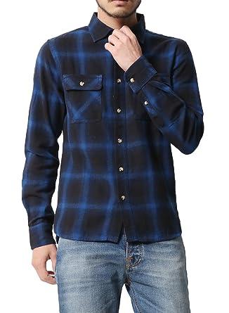 4d58bee1a167 [アビト] シャツ チェックシャツ カジュアルシャツ 長袖 メンズ ダーク ブルー オンブレ M サイズ