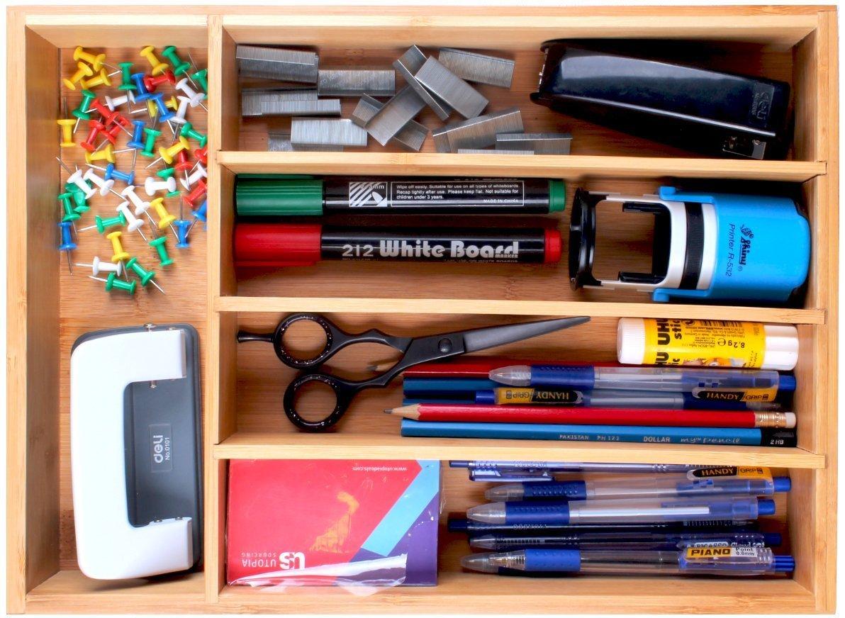 Utopia Kitchen Bamboo Kitchen Tray Organizer - Bamboo Drawer Organizer - Silverware Tray - Bamboo Hardware Organizer - 5 Compartments by Utopia Kitchen (Image #7)