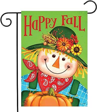 """Amazon.com : Briarwood Lane Happy Fall Scarecrow Primitive Garden Flag Autumn  Pumpkin 12.5"""" x 18"""" : Garden & Outdoor"""