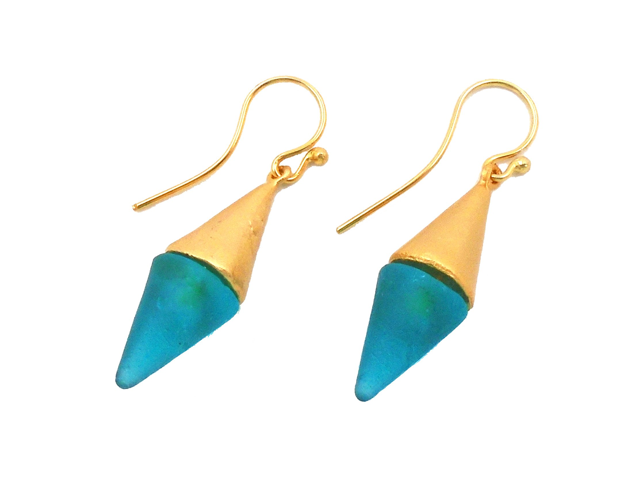 Michael Vincent Michaud- Glass ''Medium Spike Hanging Earring'' in Teal Blue