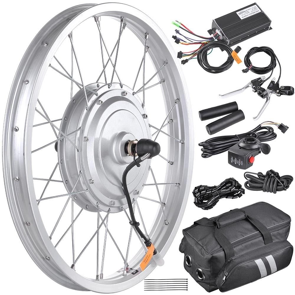 36V 750W 20'' Front Wheel Tire Electric Bicycle eBike Conversion Kit w/Motor With Ebook