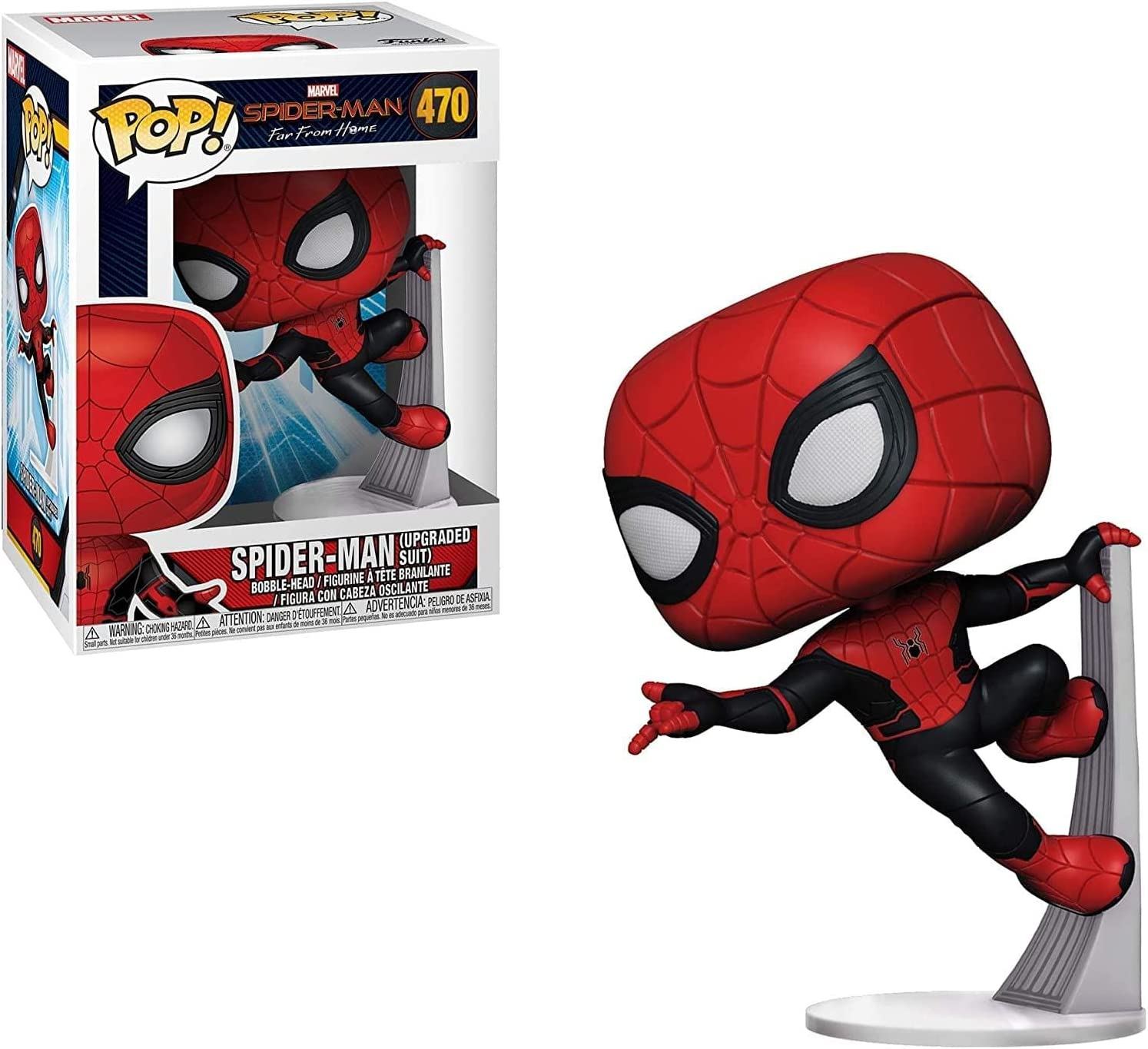 Funko Marvel: Spider-Man Far from Home - Spider-Man Upgraded Suit Pop! Vinyl Figure (Includes Compatible Pop Box Protector Case)